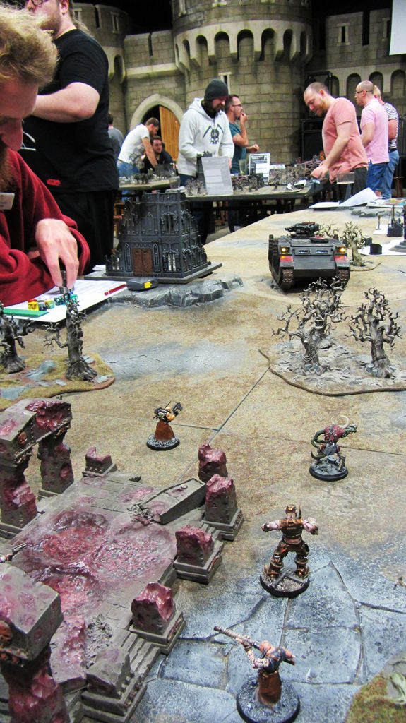 The Razorback spews death at the heretics