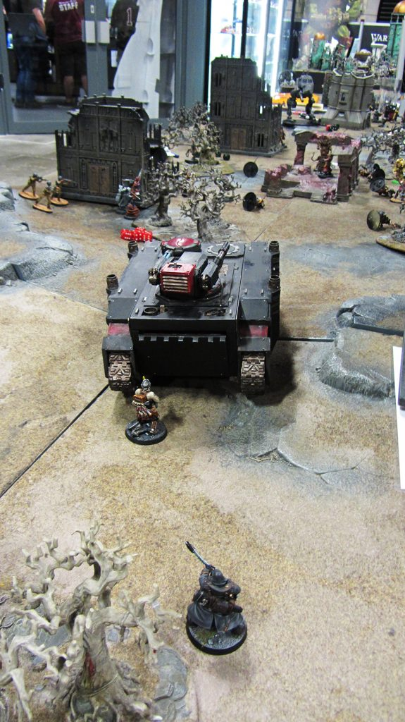 Korpik and Fetch use the Razorback as moving cover to advance